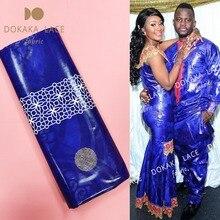 5 jardas azul royal bazin riche tecido de renda 2019 alta qualidade jacquard padrão bacia das mulheres e dos homens roupas diárias material tecidos