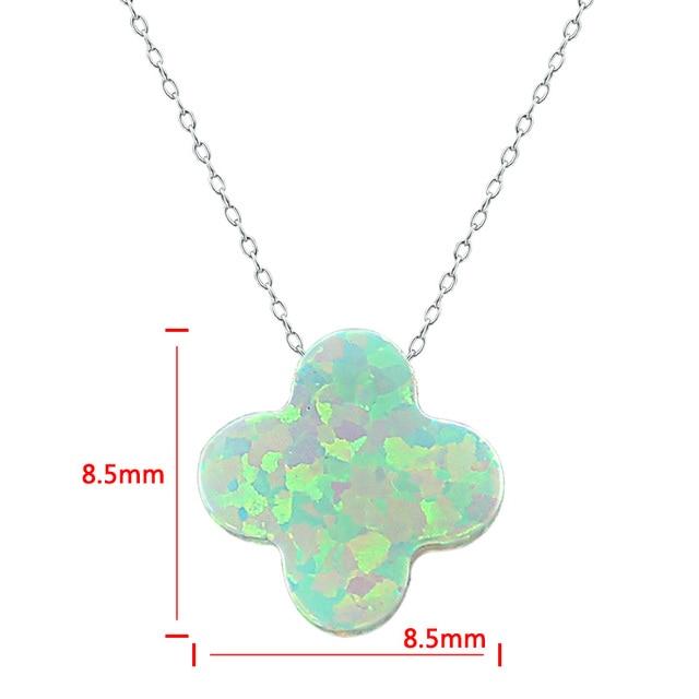 Four Leaf Clover Opal Necklace Pendant Women Jewelry Opale