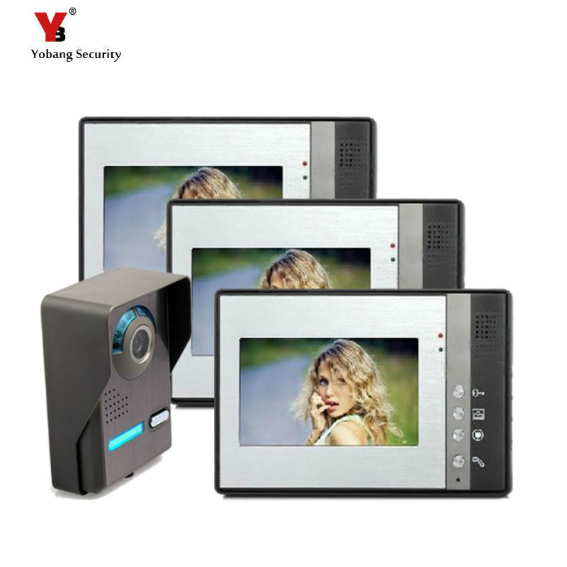 Yobang Security freeship Video Door Phone Intercom 7Full Color Doorbell Intercom Kit 1 Camera 3 Monitor HD Home Security System