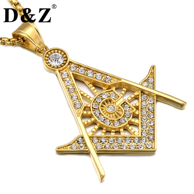 Dz hiphop gold color masonic necklace ice out full rhinestones dz hiphop gold color masonic necklace ice out full rhinestones stainless steel freemason pendants necklaces for aloadofball Gallery