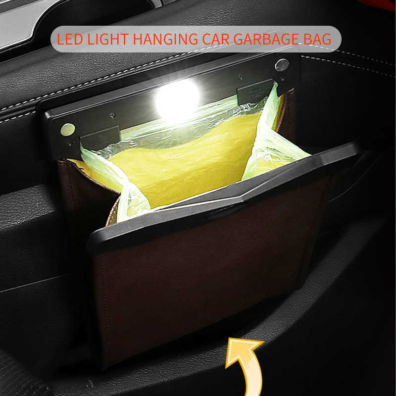 Smart LED Car Trash Can Waterproof Garbage Bag Passenger Side Artificial Leather Storage Pocket Leak Proof Reusable Traveling Portable Offices Toilet Garbage Cans Back Seat Hanging Brown-1pack