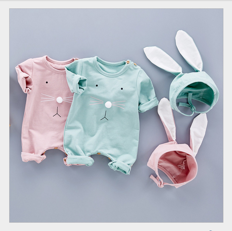 New Spring Autumn Baby   Rompers   Cute Cartoon 2 color Rabbit Infant Girl Boy Jumpers Kids Baby Outfits Clothes