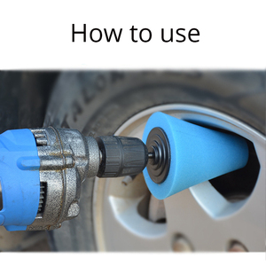 Image 2 - 3Pcs/Set Car Wheel Rim Foam Sponge Polishing Pad Cone Shaped Buffing Pads For Car Wheel Hub Auto Cleaning Tool Accessories