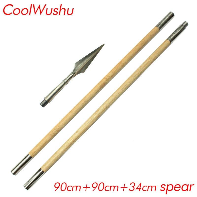 Kung fu bâton deux sections combinaison bâton Blanc cire tige Rouge-glands lance 90 cm et 90 cm et 34 cm lance