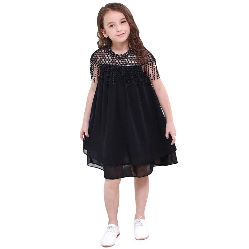 Tween Girl Fashion Black: Girls Chiffon Black Dresses High Quality New Summer Kids