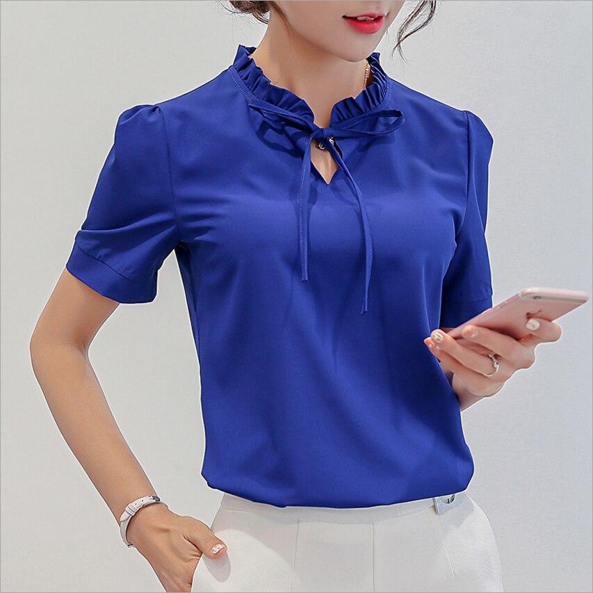 新しい女性カジュアルシフォンブラウス半袖韓国ファッション 2019 夏はエレガントな女性の服ストリート女性白シャツ