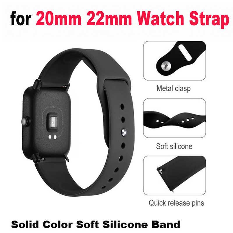 Boorui 20/22 Mm Tali Gelang Silikon untuk Xiaomi Amazfit Bip Bit Kecepatan Tali Correa untuk Huawei Watch 2/Samsung Gear S2