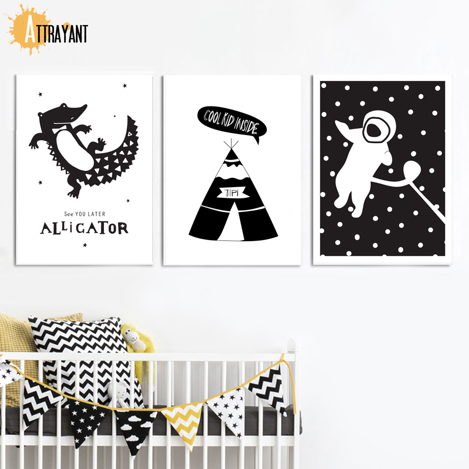 Us 3 16 54 Off Black White Alligator Astronaut Tent Wall Art Canvas Painting Nordic Posters And Prints Pictures Kids Room Nursery Decor In