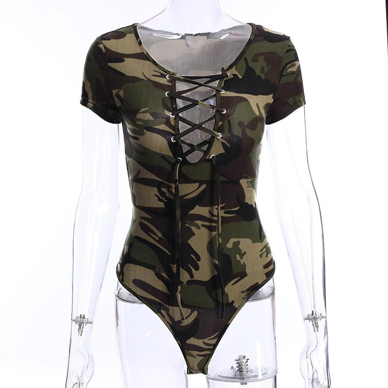 Sexy Lace Up Bodysuit Fashion Women Elastic Slim Jumpsuit Rompers Ladies Camouflage Playsuit Body Top Overalls WS7532V
