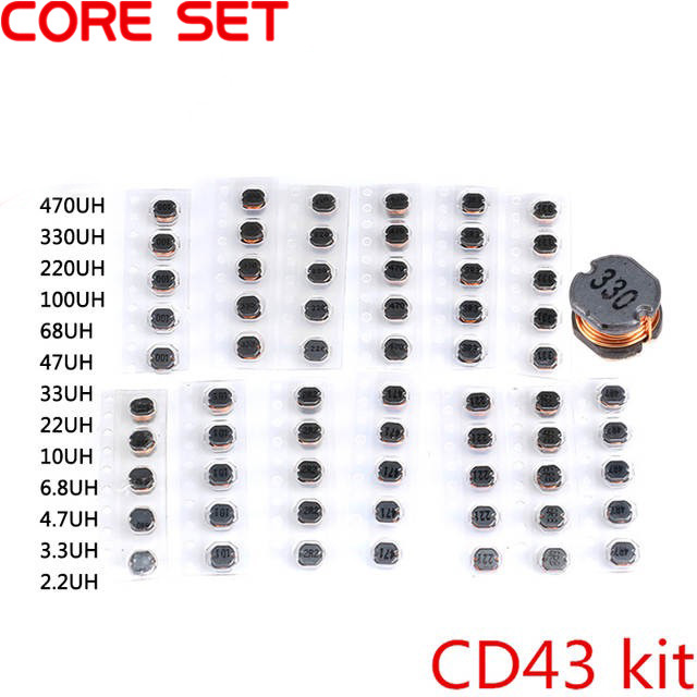 130pcs CD43 2.2UH-470UH Inductance Chip Power Inductor Chips SMD Assortment 1Set