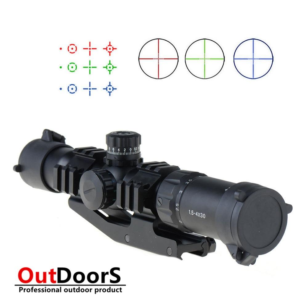 ФОТО Shipping Free 1.5-4X30 Tactical Rifle Scope w/ RGB illuminated Horseshoe Reticle w/ Mount VEG47 T15