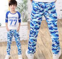 Fresco Niños Vaqueros azul marino camuflaje Vaqueros casual Pantalones Niños mezcla de algodón Delgado niños elástico cintura Denim Pantalones para 4-10y