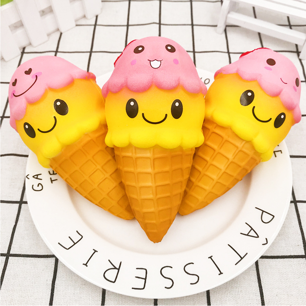 Kawaii Jumbo Squishy Slow Rising Double Smiley Face Ice Cream Squeeze Scented Antistress Toys For Kids Squish Hamburger Donuts