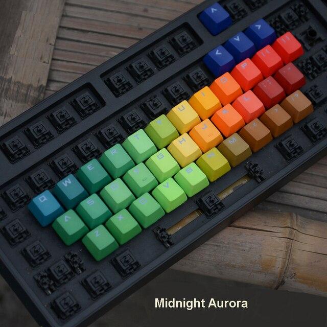 37 клавишные колпачки для ключей с буквами алфавита, сменные колпачки для ключей, тяжелый окрашенный Радужный профиль OEM PBT, двухсторонний прозрачный колпачок для ключей