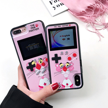 Pink Panther Color Display Phone Coque For iPhone 7 6 6s 8 Plus Case Game Console Soft TPU Cover For iPhone X XS MAX XR 10 Funda