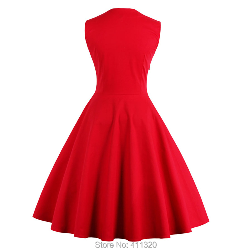 Womens Red Vintage Dress Polka Dots Patchwork 50s 60s 70s Retro Style Pin up Rockabilly Swing Wedding Party Dresses robe femme (2)