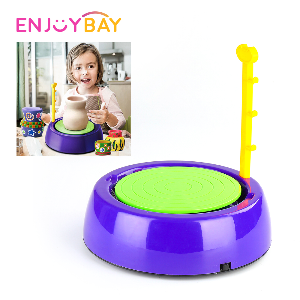 Enjoybay DIY Ceramic Pottery Machine Toy Electric Pottery Wheels with Clay Kids Arts Craft Toy Funny Birthday Gifts for Children