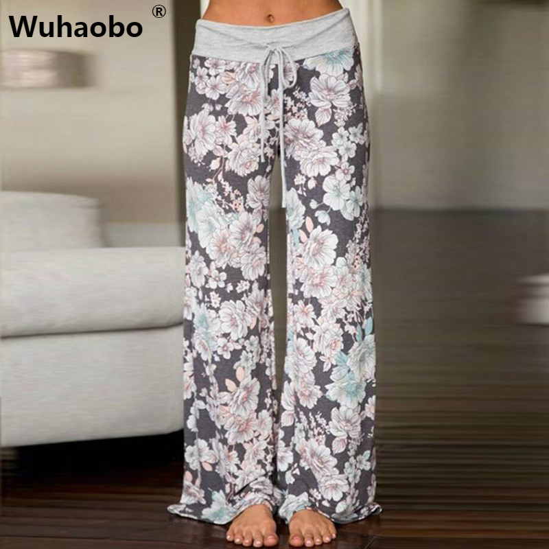 Wuhaobo Causal Women Flower Print Pants Drawstring Wide Leg Pants Loose Straight Trousers Long Female Plus Size Gray Trousers
