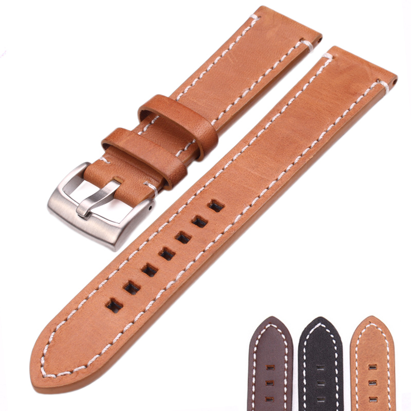 HENGRC Vintage Watch Band Strap Men Genuine Leather 18 20 22mm Calfskin Watchbands Stainless Steel buckle Accessories батарейки duracell basic lr6 4bl aa 4 шт