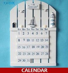 Calendario de pared hecho a mano de madera de estilo mediterráneo, calendario perpetuo decorativo para el hogar de estilo europeo