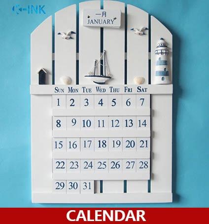 Mediterranean Style Wooden Handmade Wall Calendar , European Style Home Decorative Perpetual Calendar