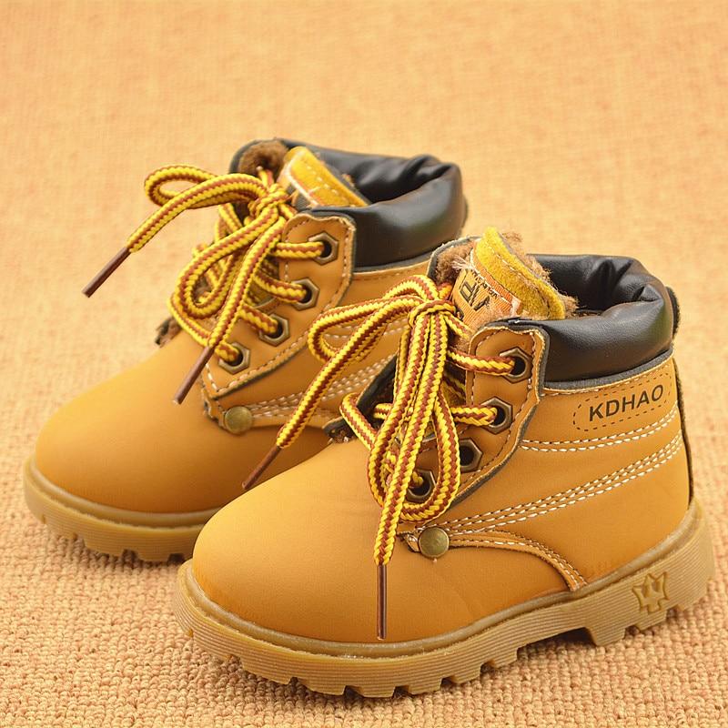Весна Осень Зима Детские кроссовки Martin Boots Детская обувь Мальчики Девочки Снегоступы Повседневная обувь Девочки Мальчики Плюшевые модные ботинки