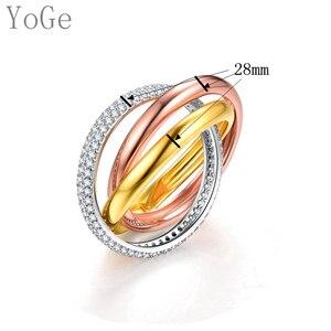 Image 5 - YoGe bijoux de mariage et fête pour femmes, anneau de luxe R3666 en triple taille AAA CZ