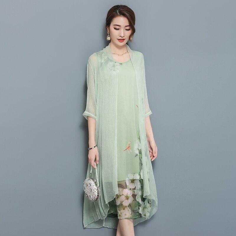 2019 nouveau style chinois robe vietnam aodai chinois traditionnel robe vert deux pièces cheongsam robe robe chinoise qipao