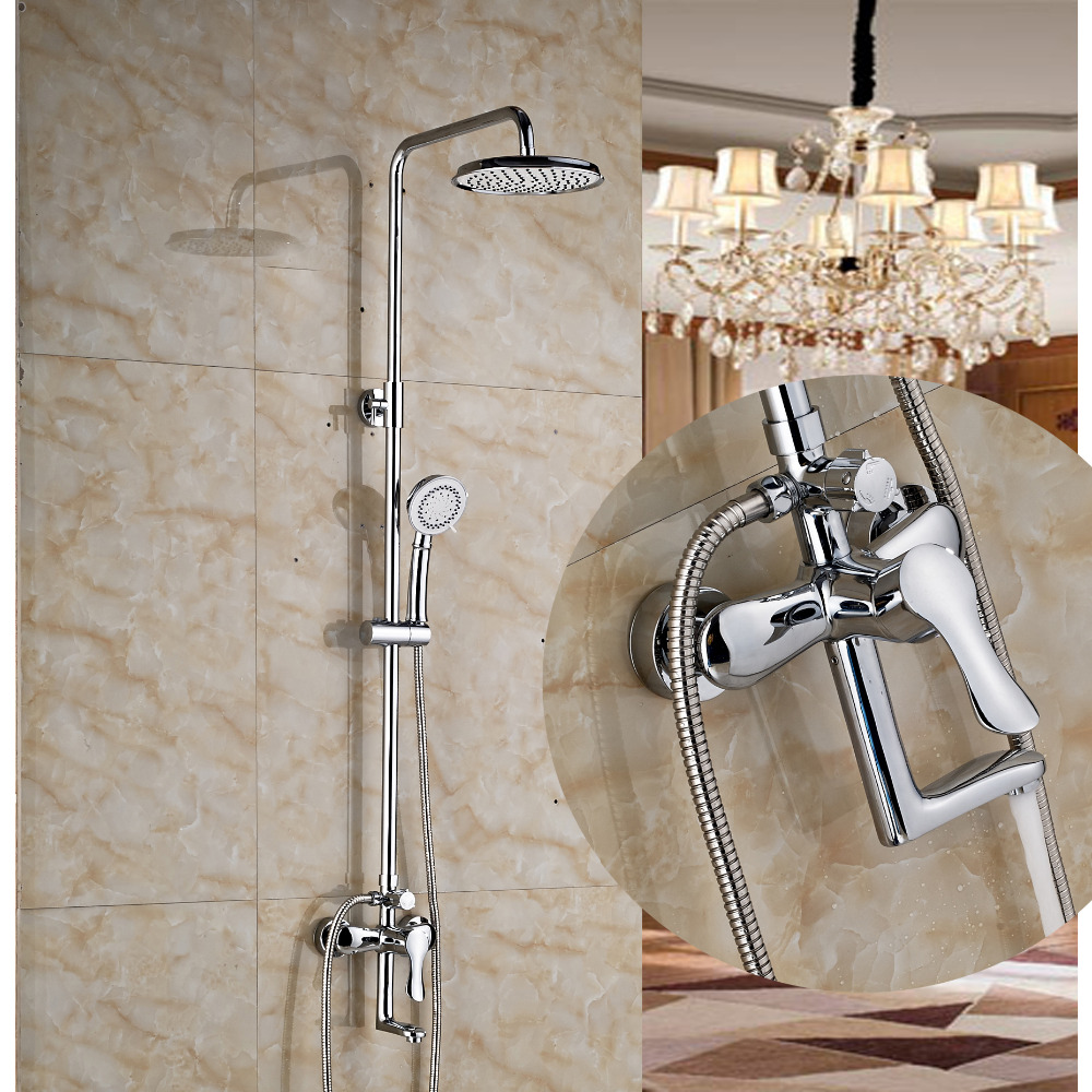 Modern Chrome Round Rain Shower Faucet Tub Spout Valve Mixer Tap Hand Sprayer