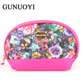 2016 Women Travel Bags Cosmetic Bag Flower Pattern Leather Makeup Bag Waterproof professional  Handbag Pencil Pouch  Wash Bags