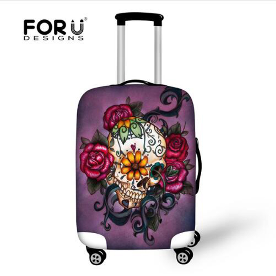 FORUDESIGNS Customade Travel Luggage Protective Cover,Skull Dust Covers To 18-28 Inch Case Elastic Waterproof Suitcase Cover