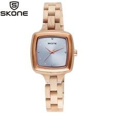 Reloj de madera SKONE para mujer, reloj cuadrado de cuarzo de moda, reloj Casual con superficie de metal con diamantes, reloj de madera ébano de marca de lujo