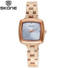 SKONE עץ שעון נשים כיכר אופנה קוורץ שעון המתכת משטח מקרית יהלומי שעון יוקרה מותג אבוני עץ שעון