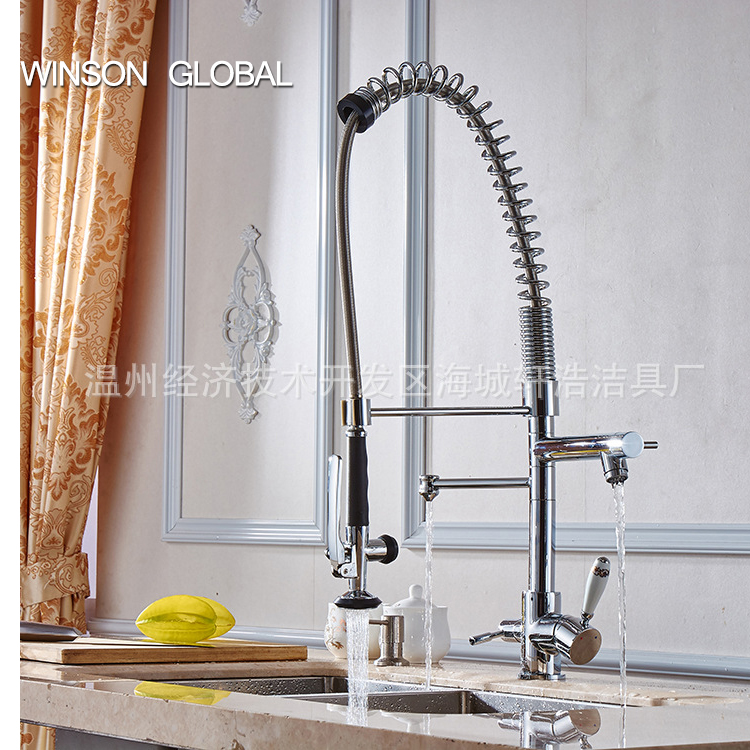 kitchen water tap faucet polished spring pull out cocina sink pot filler sprayer tap hot water