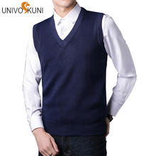 UNIVOS KUNI 2018 Autumn New Fashion Casual Men 스웨터 Vest Slim Fit Solid Color Men 스웨터 풀 오버 Vest Plus Size 2XL J256(China)