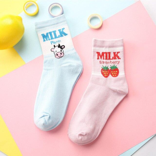 Socks for women autumn and winter cotton strawberry print sock harajuku cartoon cow pattern cute socks female sox mujer meias Women Socks
