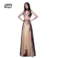 Fitaylor אביב פרחוני הדפסת שמלה אלגנטית אופנה שמלת שיפון שמלה אחת כתף פרחוני מקסי vestidos דה פיאסטה la שמלה ארוכה