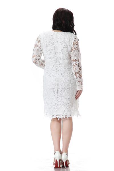 Tallas grandes mujeres del vestido de encaje Blanco de la manga completa vestido