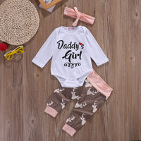 Christmas Newborn Infant Early Baby Girl Clothes Set Tops Pants Bodysuit Outfits Headband 3pcs Cute Baby
