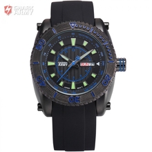 Shark Army Relogio Masculino Full Steel Case Date Display Black Blue Rubber Wristwatch Sport Military Quartz Men Watches /SAW160