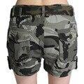 Shorts Jeans Nova Chegada Shorts de Algodão Mulheres 2016 Verão Nova Camuflagem Do Exército Multi-bolsos de Carga Calças Curtas Para Feminino