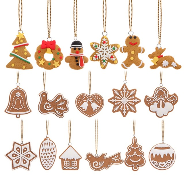 17pcs cartoon animal snowflake biscuits hanging christmas tree ornament handmade polymer clay christmas decorations