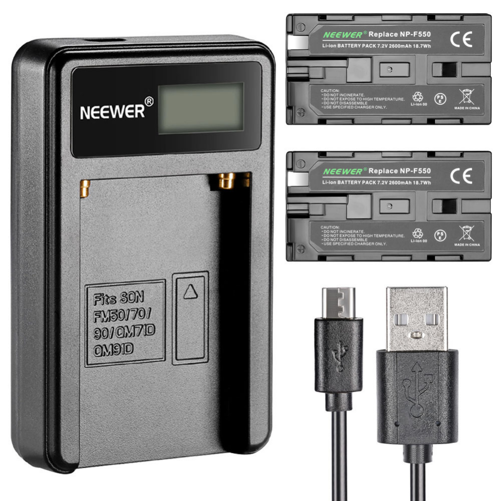 Neewer Micro USB Battery Charger + 2-Pack 2600mAh NP-F550/570/530 Replacement Batteries for Sony HandyCams Neewer Nanguang CN-16