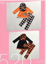 FALL OUTFITS girls 3 pieces with scarf sets girls Halloween outfits pumpkin print dress plaid pants baby grils boutique clothing