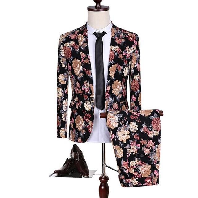 Duas Peças Floral Impressão Entalhe Lepel Homens Fantasia Terno Um botão de Moda Festa de Casamento Traje Maillot Homme Slim Fit Populares Homme