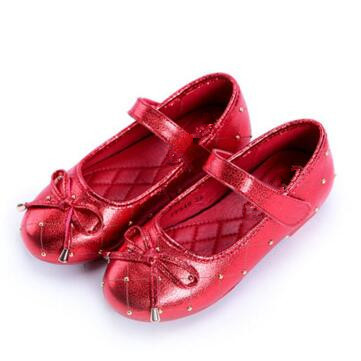 NEW Spring/Autumn Leather Shoes Girls Flats Children Princess Fashion Bowtie Rivets Casual Shoes Baby Kids Shoes 02