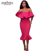 SEBOWEL White Pink Backless Ruffle Off Shoulder Mermaid Midi Dress Sexy Party Bodycon Dresses Vestidos Mujer