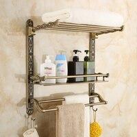Мода старинные двойной слой для ванной Косметическая стойке крючок вешалка для полотенец аксессуары для ванной комнаты