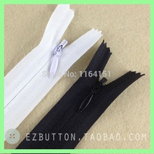 free shipping  3# nylon 60cm invisible zipper for sewing garments skirt zippers mix ,black and White 10pcs/lot