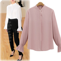 Women wholesale blouse office ladies long flare sleeves chiffon shirt Plus size stand collare solid color chiffon formal blouses